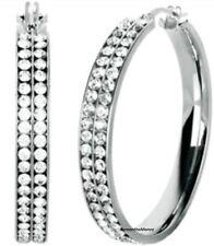"""2- Row Pave Set Crystal Hoop Dangle Earrings Stainless Steel  1.6"""""""
