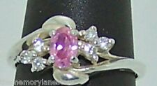 PRETTY ESTATE AVON RJ GRAZIANO PINK & WHITE STONE STERLING SILVER RING, SIZE 8
