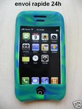 Cover case silicone blue green iphone 3G 3gs + film
