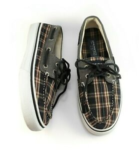 Sperry Top Sider Mens Black Gray Plaid Boat Shoes Canvas Size 8.5 M