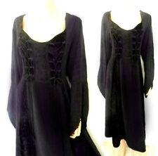 Size 22 Black Dress Gothic Dark Purple/ Black Long Dress w Velvet Renaissance