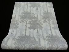 "5965-15-) moderne Vliestapete ""Countryside"" schickes Baum-Design weiss grau"
