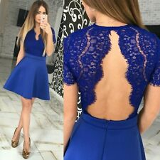 Women Sexy Short Sleeve Backless Lace Party Evening Cocktail Short Mini Dress