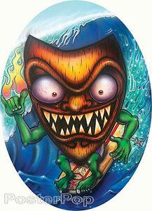 Surfin' Tiki STICKER Decal Tiki Surf Art Von Franco VF39