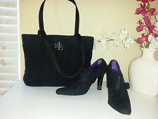 Lauren Ralph Lauren Black Label Shoes Sz.8,5B &  Bag Set Dark Gray Wool - Italy!