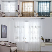 Feather Voile Curtain Net Panel Sheer Drape Tulle Scarf Window Door Room Decor