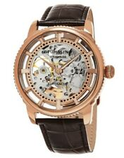 Stuhrling Skeleton Automatic Watch in Rose Tone  Luxury Leather MensDress Watch