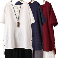 Ladies Women Loose Short Sleeve T Shirt Solid Casual Tunic Blouse Tops Pius Size
