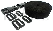 Gurtband (PP) 50mm breit 5 m-Rolle + 2 Steckschnallen/Schieber/Schlaufen Schwarz