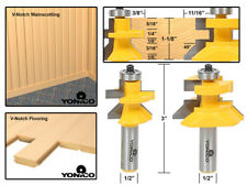 """Flooring 2 Bit Tongue and Groove V Notch Router Bit Set - 1/2"""" Shank - Yonico 15"""