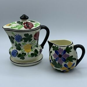 Ges Gesch Germany Hand painted Ceramic Lidded Floral Pitcher And Creamer