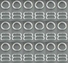CLEAR PLASTIC BRA STRAP ADJUSTER SLIDERS & RINGS, FIGURE 8+0 LINGERIE ADJUSTERS