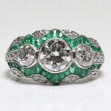 4.25ct White & Green Art Deco Round Diamond Bridal Engagement Ring In 925 Silver