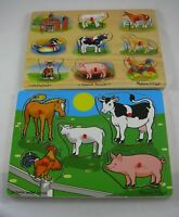 Melissa & Doug Farm Animals 2 Wooden Peg Puzzles LOT Sound 268 1135 Kids
