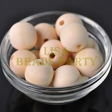 30pcs 20mm Round Wood Spacer Wooden Loose Spacer Beads Crafts Jewelry Making