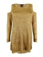 Alfani Women's Sequined Cold-Shoulder Sweater M, Gold Sequin