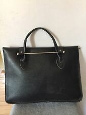 Vintage Black Leather Music Document Satchel Briefcase Attache Case Bag