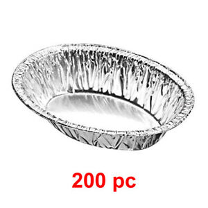 200x Foil Pie Oval Aluminium Dish Meat Pies Steak Disposable Baking 13.5 x 10cm