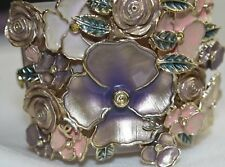 NEW Chanel Nude Pale Pink CUFF BRACELET 3 D Flowers Rose Purple Gold