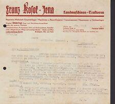 JENA, 2x Rechnung 1941, Landmaschinen Traktoren Franz Kosok, Deering