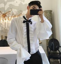 Men Gothic Shirt Top White Ruffle Collar Punk Flare Sleeve Retro Dancing Tees