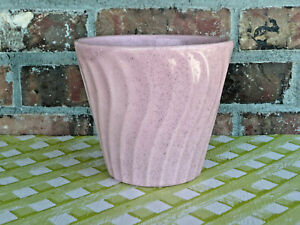 Vintage Bauer Pottery Pink Sparkle Speckle Swirl Flowerpot Flower Pot Planter