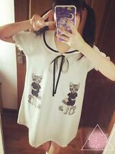 Girls Kawaii Summer Long T Shirt Japan Harajuku Sailor Style Cute Cat Dress