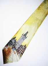 Old City Painting Novelty Tie - Yellow Tie With Artistic Town And Buildings
