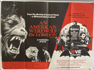 An American Werewolf In London And Love At First Bite UK Quad Film Poster (1981)