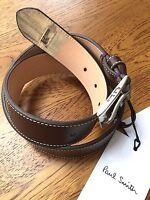 PAUL SMITH BROWN LEATHER BELT WITH MINI THROUGH DOOR PRINT TIP SIZE 30
