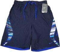 NWT $54 NIKE Swim Suit Trunks Mens Navy Blue Swoosh NEW Sheds Water Drawstring