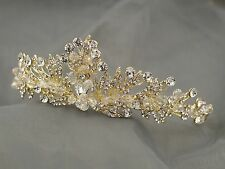 Clear Austrian Crystal Rhinestone Tiara Crown Bridal Party Pageant 00276 Gold