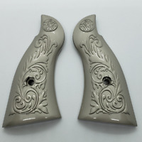 Custom Smith & Wesson Scroll Metal Grips  K-Frame Square Butt brushed Nickel #1