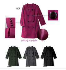 Japan Collarless OL Double Breast Wool Coat! Dark Gray