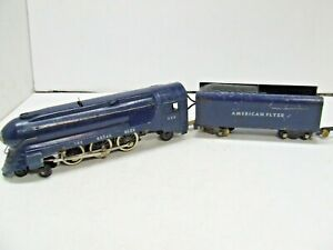 AMERICAN FLYER ROYAL BLUE LOCO WITH HAND RAILS RUNS GREAT
