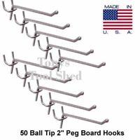 "50 Lot 2"" PEG BOARD HOOKS BALL TIP Workshop Pegboard Hang Tool Storage Display"