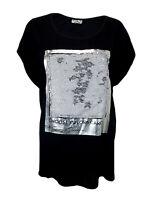 T-Shirt Argent Noir 42 44 M - L Wendepailetten Made IN Italy Bw Lin