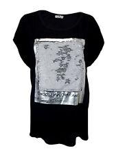 T-Shirt schwarz silber 42 44 M - L Wendepailetten Made in Italy BW Leinen