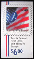 US Stamps 2002 34c United We Stand 20 Stamp Booklet Pane #BK287