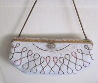 Antique GLASS BEADED Ivory w PINK Handbag/Purse~FRANCE