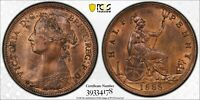 PCGS MS-64 RED-BN GREAT BRITAIN HALFPENNY 1/2 PENNY 1888
