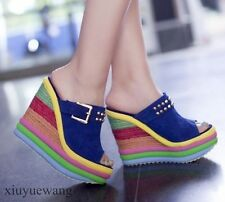 Womens Colorful Rainbow High Wedge Heel Platform Open Toe Slippers Shoes Size XY
