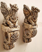 Winged Dragon Mythical Wall Plaque Sconce Pair