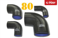 """4PLY Silicone 90 Degree Elbow intercooler Joiner Turbo Hose Pipe 80mm 3.15"""" BK"""