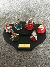 Royal Doulton Miniature Set On Wooden Plinth Preowned