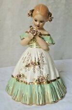 "Vintage sgd HOM Capodimonte Style Porcelain Victorian Girl Statue Figurine 9.5"""