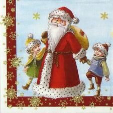 6x Cocktail 25x25 cm Carta Tovaglioli per Decoupage PARTY Craft Babbo Natale con i bambini