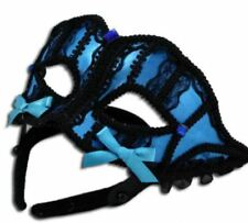 Fab Black & BLUE Satin BURLESQUE Masquerade Mask with Lace * Lift Up Design