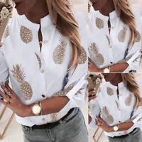 Women Modish Pineapple Print Long Sleeve Shirt Ladies Button Down Tops Blouse