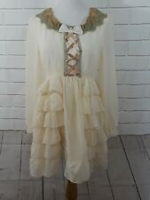 VintageVictorianSteampunkCream Tunic Ruffled Blouse Costume bows zipup Lace S/M